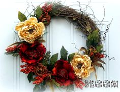 Beautiful Autumn Grapevine Front Door Wreath made with Feathers, Fall Berries & Flowers by Bloom, $65.00