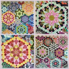 The New Hexagon Millefiore Quilt-Along Mine on the left, @lindasquiltmania on the right.  For all you quilters going to International Quilt Festival in Houston this week, Linda's quilt (the @cottonandsteel version) on the right will be hanging in the @paperpiecesepp booth for you to oooohh and aaaaahh over.  #thenewhexagon  #thenewhexagonmillefiorequiltalong  #katjamarekdesigns