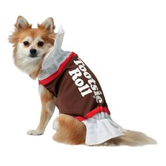 Tootsie Roll Dog Costume - Pet, Kids Unisex, Size: Large, White