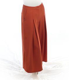 #ModernVintage dark orange #CroppedWideLeg #womanspant from Theadora Vintage. Shop theadoravintage.com