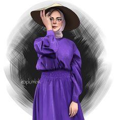 Kapalı kız çizimi / mor elbise Hijab Style, Turban Style, Hijab Drawing, Anime Muslim, Hijab Cartoon, Profile Picture For Girls, Cute Girl Wallpaper, Hijabi Girl, Muslim Girls