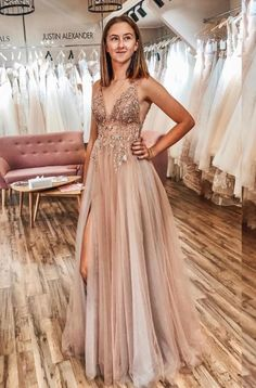 Buy A Line Tulle V Neck Applqiues Prom Dresses With Slit, Spaghetti Straps Long Formal Dresses online.Shop short long ombre prom, homecoming, bridesmaid evening dresses at Couture Candy Cocktail party dresses, formal ball gowns in ombre colors. Pretty Prom Dresses, A Line Prom Dresses, Tulle Prom Dress, Women's Dresses, Dresses Online, Elegant Dresses, Fashion Dresses, Quinceanera Dresses, Wedding Dresses