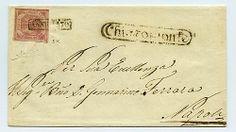 CHIAROMONTE - ovale nero su lettera del MAR 1858 a Napoli con 2 gr. (5k) con doppia incisione, ann. in cartella. Splendida. Ray.