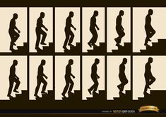 Man climbing stairs sequence frames silhouettes, Vector by Vector Open Stock License: Attribution ID: How To Draw Stairs, Take The Stairs, Human Figure Sketches, Figure Sketching, Stair Art, Cut Out People, School Clipart, Animation Tutorial, Stairs