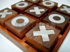 Rosewood Wooden tic tac toe kids game
