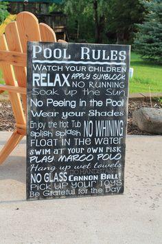 Pool Rules Sign Custom backyard decor Extra Large by Wildoaks