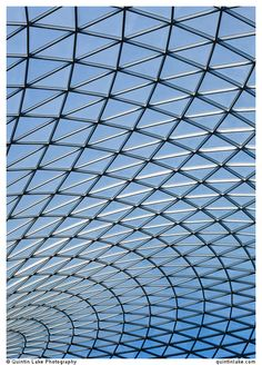 Steel and glass latticework roof of the Great Court at the British Museum, London. Built Architect: Foster and Partners Engineer: Buro Happold Photo: Quintin Lake Architecture Presentation Board, Foster Partners, Lake Photography, Design Museum, Beautiful Buildings, British Museum, Modern Architecture, The Fosters, Peace Dove