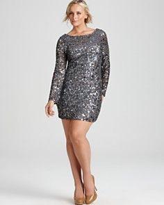 Aidan Mattox Plus Long-Sleeve Sequin Dress