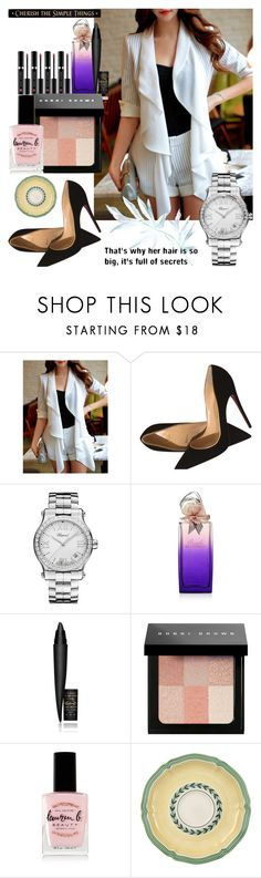 """""""Well, you sort of went... rigid. We thought maybe you were having a  fit or something."""" by black-wings ❤ liked on Polyvore featuring Christian Louboutin, Chopard, Hanae Mori, MAC Cosmetics, Bobbi Brown Cosmetics, Lauren B. Beauty, Villeroy & Boch and DutchCrafters"""