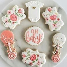 How adorable are these baby shower cookies (and I realized today that I say adorable in almost every post. So obviously that is one of my favorite words :) I just love cookies). These beautiful cookies are by Fancy Cookies, Iced Cookies, Cute Cookies, Cupcake Cookies, Sugar Cookies, Cookie Favors, Flower Cookies, Heart Cookies, Valentine Cookies