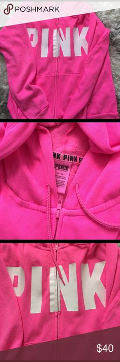 VS PINK HOODIE Pretty much like new only worn once or twice! Really comfy thinner material for spring! PINK Victoria's Secret Tops Sweatshirts & Hoodies