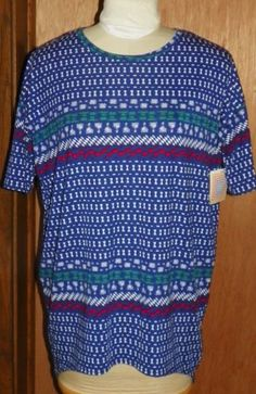 7b1b6bb23 LuLaRoe-LLR-Irma-Hi-Low-Shirt-Blue-Red-White-Green-Geometric-Design-XS-New -Tags