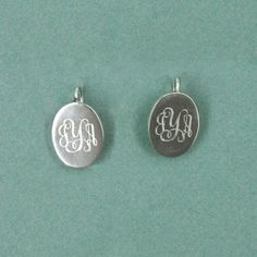 Monogrammed Sterling Silver Oval Wire Earrings $75 @NoteworthyNotes