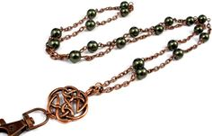 ID Badge Lanyard with Antique Copper Celtic by byBrendaElaine
