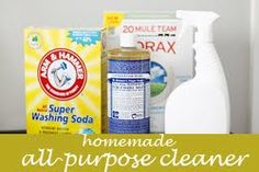 ALL-purpose castile cleaner Use on kitchen and bathroom surfaces.  2 teaspoons washing soda 4 teaspoons borax 1 teaspoon castile soap 4 cups hot water 10 drops of essential oil (I used tea tree, for its anti-bacterial properties)  and you'll obviously need a 32oz spray bottle.  Pour all ingredients into bottle and gently shake back and forth until the washing soda and borax has dissolved. Thats it!