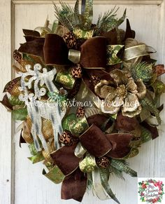 Christmas wreath deer wreath deco mesh by MrsChristmasWorkshop