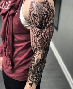 Amazing Wolf Tattoo Designs For Men Best Wolf Tattoo Ideas - 4 . - Amazing Wolf Tattoo Designs For Men Best Wolf Tattoo Ideas – Amazing Wolf Tattoo Designs - Animal Sleeve Tattoo, Nature Tattoo Sleeve, Best Sleeve Tattoos, Tattoo Sleeve Designs, Tattoo Designs Men, Sleeve Tattoo Men, Half Sleeve Tattoos For Men, Wolf Tattoos Men, Tattoos Arm Mann