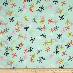 Cotton & Steel Playful Jacks Mint from @fabricdotcom  Designed by Melody Miller for Cotton + Steel, this cotton print is perfect for quilting, apparel and home decor accents. Colors include orchid, mustard, poppy, navy, and mint.