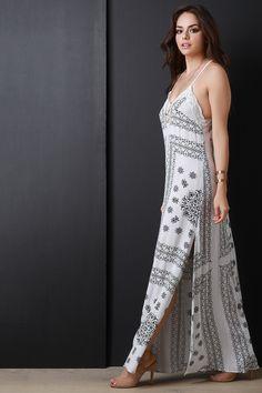 Bandanna Print Open Back Maxi Dress