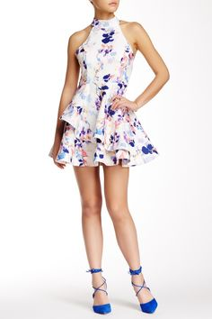 Halter Neck Tiered Fit & Flare Dress by L'Atiste on @nordstrom_rack
