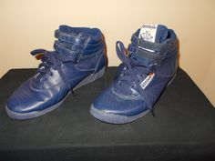 1980s shoes for women | VTG-1980s Reebok Classic Hightop Cobalt Blue Sneakers Shoes Womens 6.5 ...