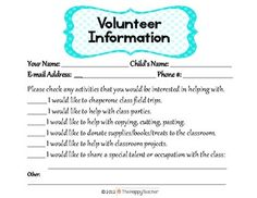 """Forms for parents to fill-out at """"Meet the Teacher Night""""  :)"""