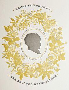 Silhouette letterpress baby announcements by Kristen Ekeland via Oh So Beautiful Paper.