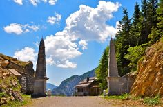 "Mountain pass ""Old Loibl"" with obelisks marking the Austrian/Slovenian border, Carinthia, Austria"