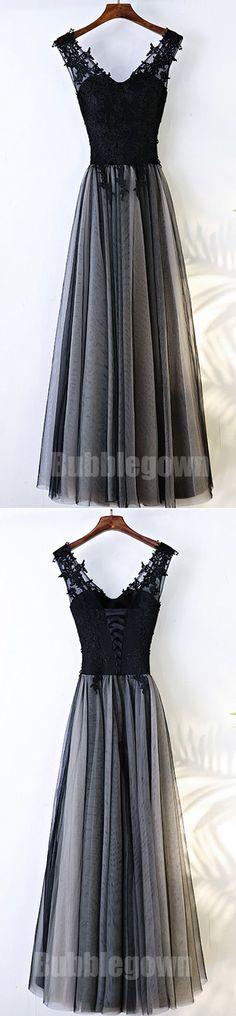 Black V Neck Formal Tulle Applique Lace Up Back Long Prom Dresses, BGP020 #promdress #promdresses