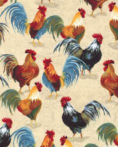 Country Kitchen - Barnyard Roosters - Natural Rooster Painting, Rooster Art, Rooster Decor, Chicken Quilt, Chicken Art, Chickens And Roosters, Pet Chickens, Sheep Pig, Chicken Pictures