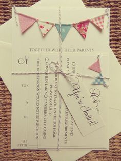 Bunting Wedding Invitation. Unique Rustic by FromLeoniWithLove