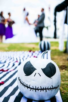 Such a unique aisle with all of the custom elements for this Nightmare Before Christmas theme wedding!