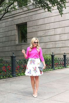 Floral Fit and Flare Skirt — bows & sequins