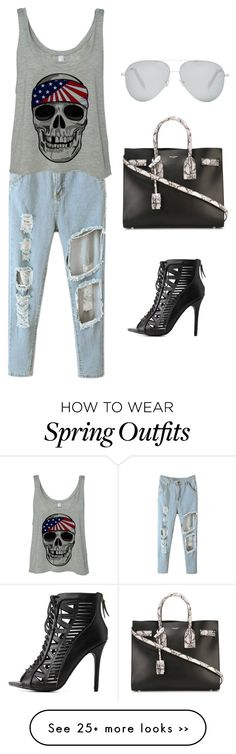 """""""Day out"""" by vilo-awomi on Polyvore featuring moda, Charlotte Russe, Yves Saint Laurent e Victoria Beckham"""