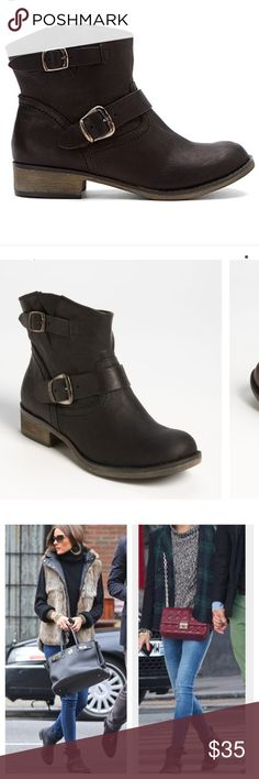 """Report """"Jude"""" Buckle Moto booties Double buckles skip around the shortened shaft of a vintage ankle boot, finished with a cute bubble toe.  As seen on style icon Olivia Palermo!  •approx heel hight 1 1/4""""  •approx boot shaft height 6"""" •leather upper/synthetic lining and sole  •in excellent used condition  •runs true to size : size 9 •No Trades , No off site transactions Report Shoes Ankle Boots & Booties"""