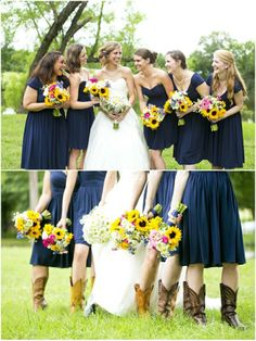 Dallas wedding photographer, navy bridesmaid dresses, sunflower bridesmaid bouquets, bridesmaid cowboy boots, bridal party pictures, Summer Texas Ranch Wedding | Swingin D Ranch  Mary Fields Photography