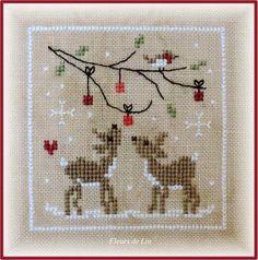 La suite de Noël nostalgique arrive tout doucement, Je vous propose le carré 8 pour broder en suivant ! Le 7 arrivera la prochaine fois !!! Deux petits faons sous une jolie branche décorée de petites boules rouges ! Vite brodée !!Si vous avez des photos...