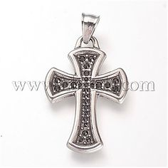 1pc Sterling Silver Cross Links with Clear Rhinestone 26x14mm