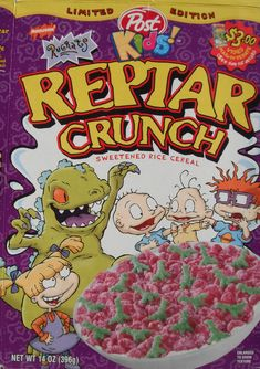 Reptar Crunch | 26 Cereals From The '90s You'll Never Be Able To Eat Again. THEY HAD THIS?! Dammit I missed it!