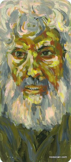 """""""Bearded Man"""" by Jeff Wrench. Acrylic on paint chip."""