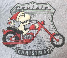 Peanuts Snoopy Woodstock Cruisin' Biker Christmas T-Shirt