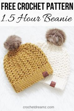 How to Crochet a Beanie, Hour Chunky Hat - Crochet Dream.-How to Crochet a Beanie, Hour Chunky Hat – Crochet Dreamz hour chunky beanie how to – crochet hat pattern – women's hat pattern – winter hat pattern – bulky yarn - Chunky Crochet Hat, Crochet Winter Hats, Crochet Beanie Pattern, Chunky Yarn, Crochet Hats For Kids, Crochet Baby Beanie, Free Crochet Hat Patterns, Crochet Hat Tutorial, Crochet Instructions