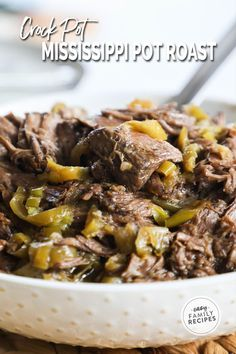 The most TENDER, FLAVOR FILLED Mississippi Pot roast made in a crock pot. This easy slow cooker dinner idea is perfect for a busy day. You can dump and go while the crockpot does all the work cooking the beef to perfection. This recipe serves a crowd and is perfect for serving with mashed potatoes, or making Mississippi Pot Roast Sandwiches. The rich and tangy signature flavor combined with the ease of the slow cooker, this recipe is a staple for weeknight dinner.