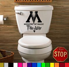 Harry Potter Ministry of Magic This Way Home Decor Bathroom Toilet Sticker Decal Any Color Custom DIY