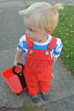 This is my 2 year olds halloween costume as Dennis the menace. We got the idea because he is a little Dennis lol how could we not dress him up like the little trouble maker ;) To make this coustume I took a plain white. Photo 2 of Little Boy Costumes, Toddler Boy Halloween Costumes, Baby Costumes, Halloween Kids, Halloween Costume 2 Year Old, Family Halloween Costumes, Halloween Outfits, Costume Works, Dennis The Menace Costume