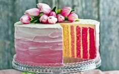 Download wallpapers cake, colorful cakes, cream, Birthday, tulips, sweets, baked goods