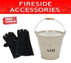 Leather Fire Gloves Heat Resistant Log Wood Ash Bucket Scuttle Fireplace BBQ Set #Inglenook