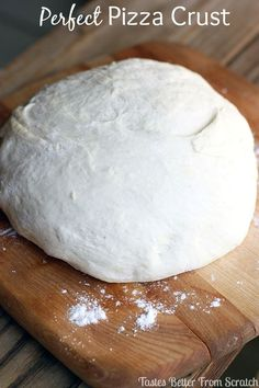 Easy Pizza Dough Perfect Pizza Crust recipe from - The BEST homemade pizza crust recipe-- baked perfectly crisp on the outside and soft and airy on the inside! Easy Pizza Dough, Crust Pizza, Cornmeal Pizza Dough Recipe, Pizza Pizza, Perfect Pizza, Crust Recipe, Deep Dish, Snack, I Love Food