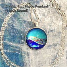 Crystal Ball Photo Pendant / 24 in. Chain Necklace / One Inch Circle / Crystal Ball / Energy Jewelry / Healing Stones / Reiki Jewelry /P4