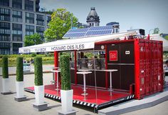 Shipping Container Bar - The Larkin Beer Garden Café Container, Container Coffee Shop, Container Design, Container Architecture, Container Buildings, Cafe Restaurant, Outdoor Restaurant Design, Mobile Restaurant, Shipping Container Restaurant